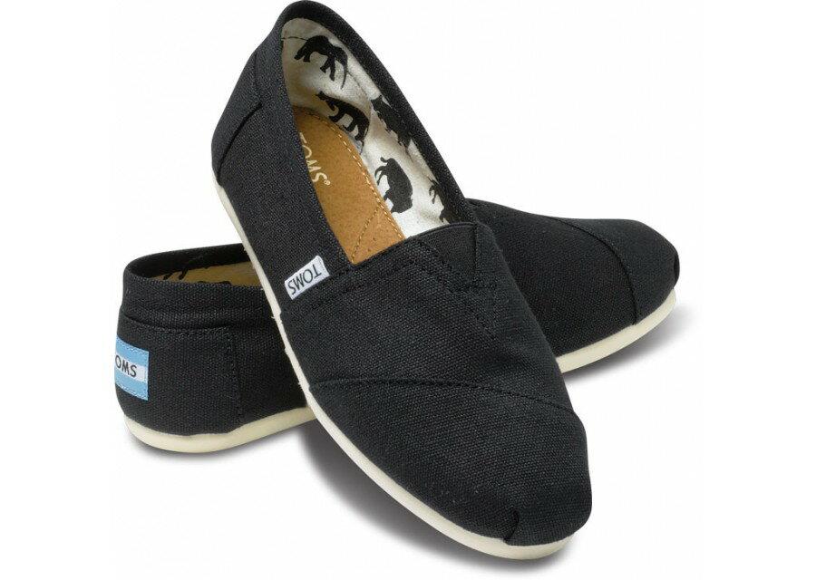 【TOMS】黑色素面基本款休閒鞋  Black Canvas Women's Classics