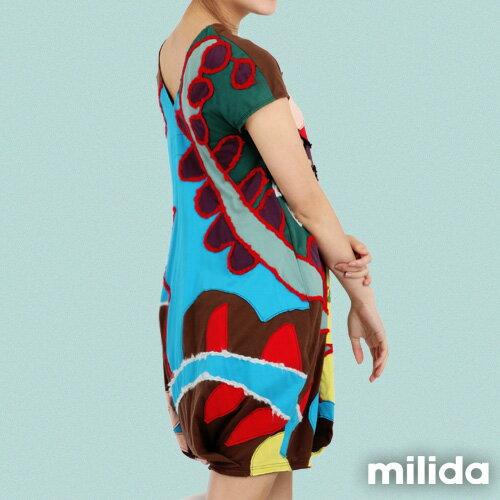 【Milida,全店七折免運】-夏季商品-拼貼款-毛線拼貼洋裝 4