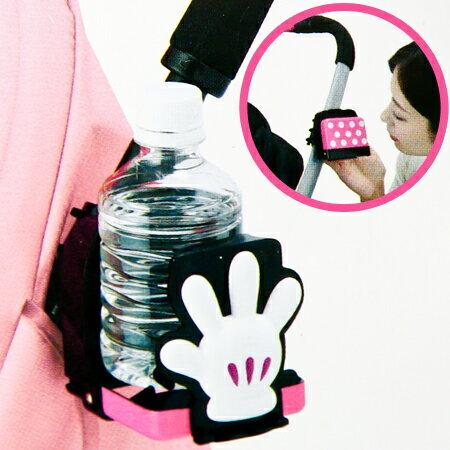 日貨TAKARA TOMY 米妮嬰兒車用飲料架 學習杯 架 推車置物架 迪士尼~N2011