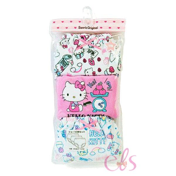 日本凱蒂貓HELLOKITTY純棉內褲學習褲3入磅秤新款三款尺寸供選☆艾莉莎ELS☆