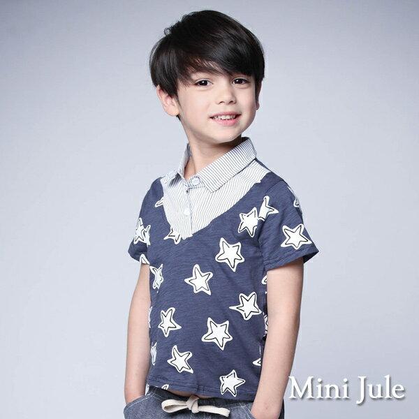《Mini Jule 童裝》上衣 框線星星拼接直紋假兩件上衣(寶藍)