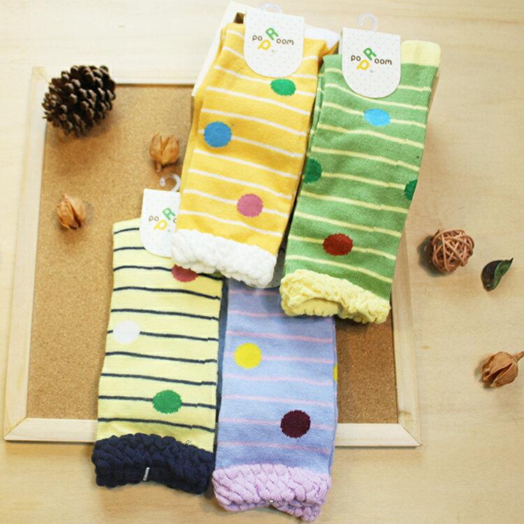 襪子 古著復古 氣質 SEIO  獨特圖型 俏皮撞色 簡約細條大圓點點 襪子  4色