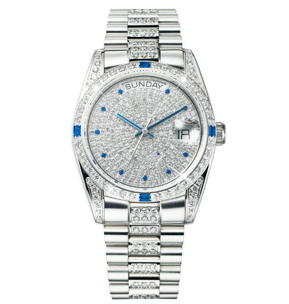 Ogival愛其華 滿天星晶鑽 蠔式型 自動機械男錶 時尚銀 30329MW 36mm