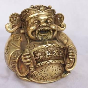 開光黃銅文財神爺 神像風水擺件 家居店鋪裝飾 招財擺件
