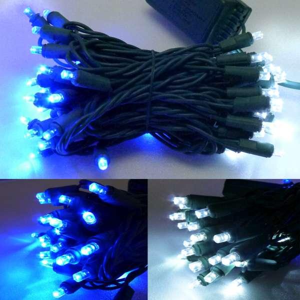 50燈LED燈串聖誕燈 (藍白光綠線插電式)(附控制器跳機)(高亮度又省電)YS-XLED050001
