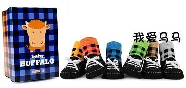 =優 =潮流 真鞋帶 仿鞋子童襪 格子嬰兒防滑襪 寶寶學步襪 假鞋襪 6雙入