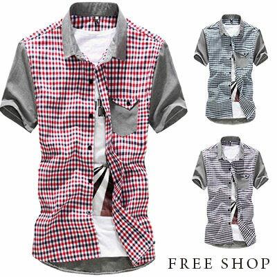 Free Shop~QTJ8812~日韓 風格口袋折角方格拼接撞色格紋襯衫短袖襯衫休閒襯衫