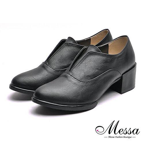 【Messa米莎專櫃女鞋】MIT英式簡約品味內真皮粗跟紳士鞋-黑色