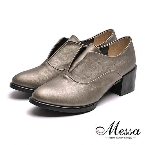 【Messa米莎專櫃女鞋】MIT英式簡約品味內真皮粗跟紳士鞋-錫色