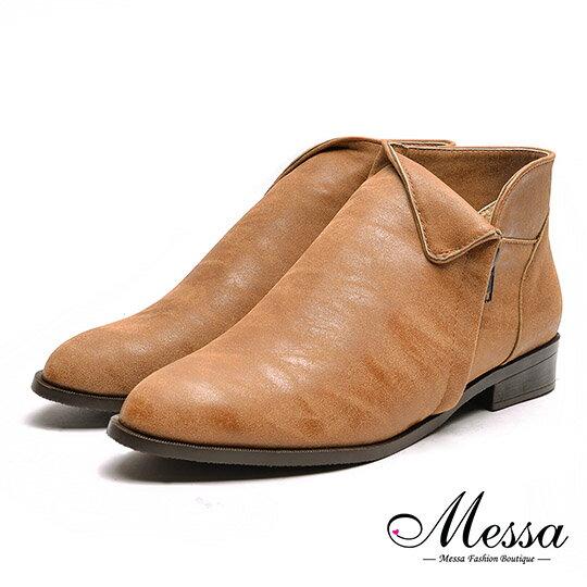 【Messa米莎專櫃女鞋】MIT顯瘦反折側V油臘皮感內真皮踝靴-棕色