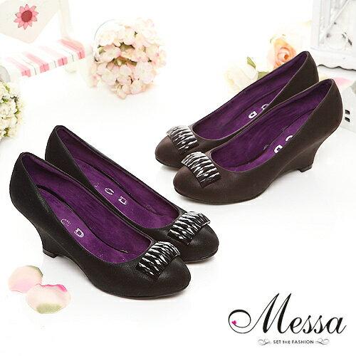 【Messa米莎】優雅貴族寶石楔型高跟鞋(共兩色)