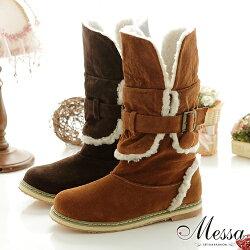 【Messa米莎】暖暖可愛絨布皮帶短筒雪靴-兩色