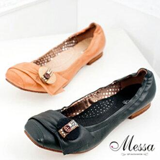 【Messa米莎】經典風尚貼鑽小牛皮低跟娃娃鞋(共兩色)