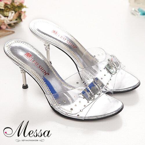 【Messa米莎】戀夏渡假風情~寶石水晶透涼高跟涼拖鞋-銀色