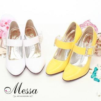 【Messa米莎】復古小名媛~瑪莉珍鑽飾圓頭高跟鞋(共二色)