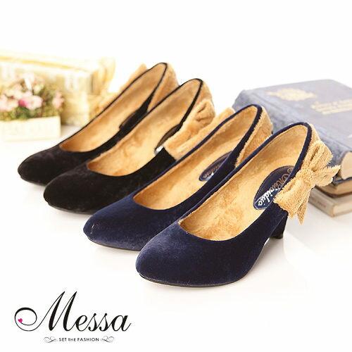 【Messa米莎】古典風華蝴蝶結絨楔型高跟鞋(共兩色)