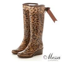 下雨天推薦雨靴/雨傘/雨衣推薦【Messa米莎】日系俏皮後蝴蝶結長筒雨靴-豹紋色