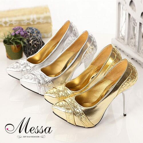 【Messa米莎】衝突美幾何方形壓紋金屬色厚底高跟鞋 (共兩色)