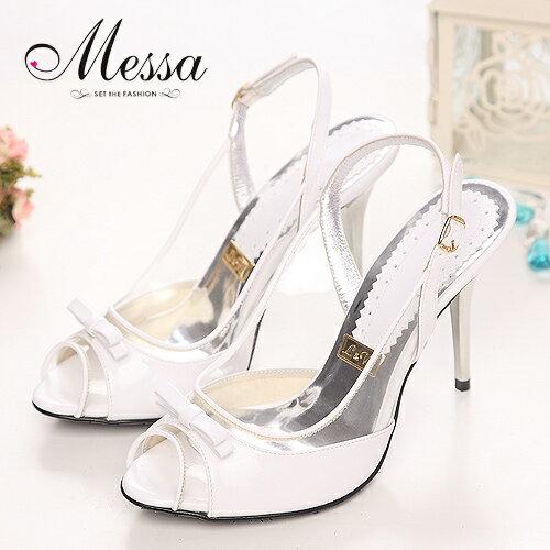 ~Messa米莎~戀夏女孩~小蝴蝶結透明後勾高跟涼鞋~白色