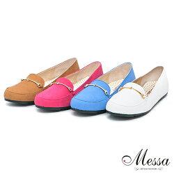【Messa米莎】(MIT)率性雅痞簡約金屬裝飾內真皮平底包鞋-四色