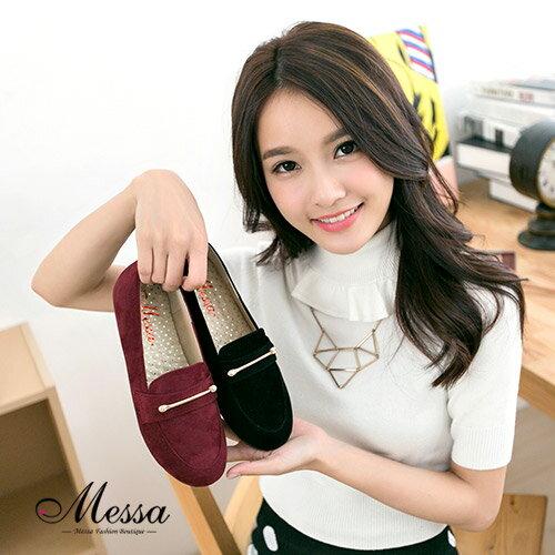 【Messa米莎】 MIT  韓系中性 金屬飾扣絨面內真皮紳士鞋-兩色