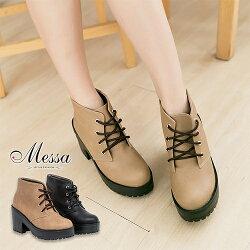 【Messa米莎】(MIT) 簡約良品穿搭綁帶基本款踝靴-兩色