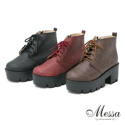 【Messa米莎】(MIT)英式學園風繫帶高跟厚底馬丁靴-三色