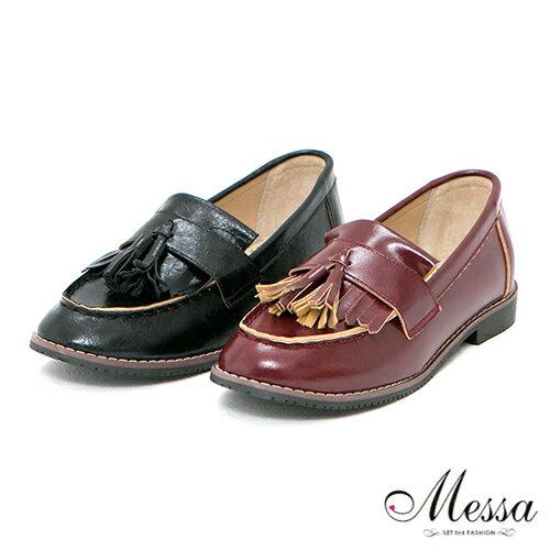 【Messa米莎】(MIT)早秋學院風流蘇內真皮莫卡辛鞋-兩色