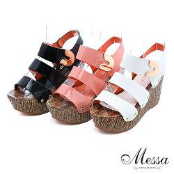 【Messa專櫃女鞋】潮流漆皮寬帶楔型涼鞋-三色