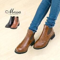 【Messa米莎】韓系龐克鉚釘復古造型短靴 -兩色