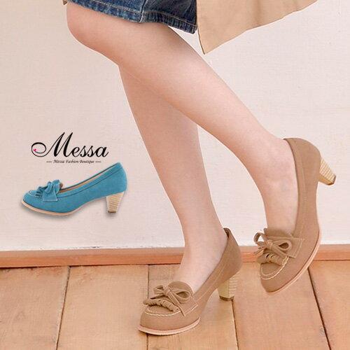 【Messa米莎】(MIT)知性素雅縫線內真皮粗跟莫卡辛鞋 -兩色