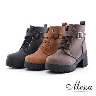 【Messa米莎】中性少女繫帶式環帶短筒軍靴 -三色