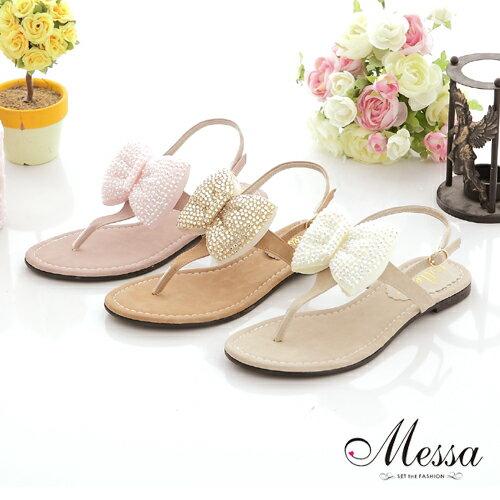 【Messa米莎】 MIT 亮眼水鑽蝴蝶結平底涼鞋-三色