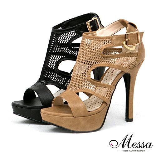 【Messa米莎專櫃女鞋】MIT 名媛風魅惑性感網紗扣環內真皮高跟鞋-兩色