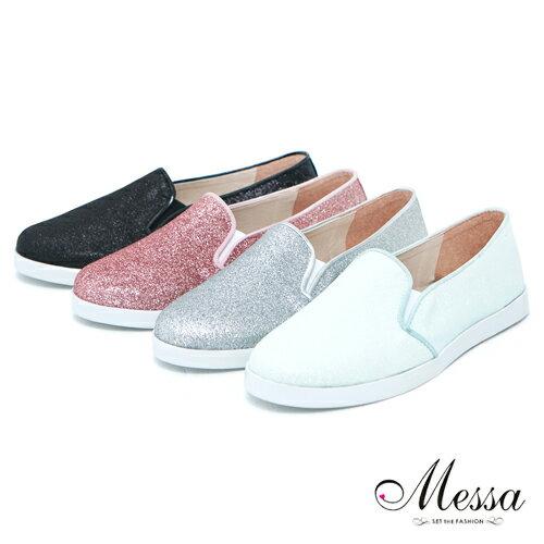~Messa米莎~ MIT  閃耀星空亮片厚底懶人樂福鞋~四色