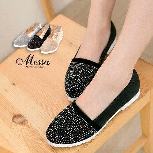 【Messa米莎】(MIT)璀璨星夜晶鑽綴飾高質感內真皮樂福休閒鞋-三色