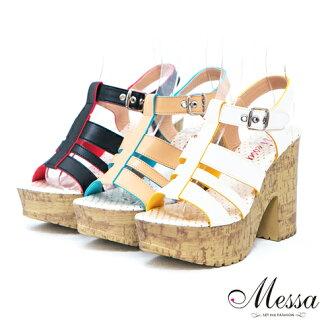 【Messa米莎】(MIT) 打造復古寬帶繞踝粗跟厚底涼鞋-三色