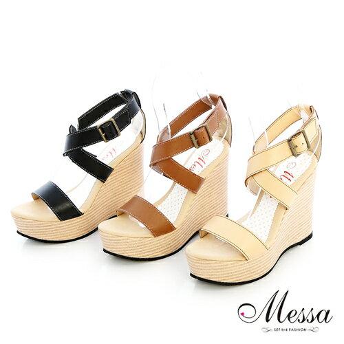 【Messa米莎】(MIT)復古風簍空內真皮楔型涼鞋-三色