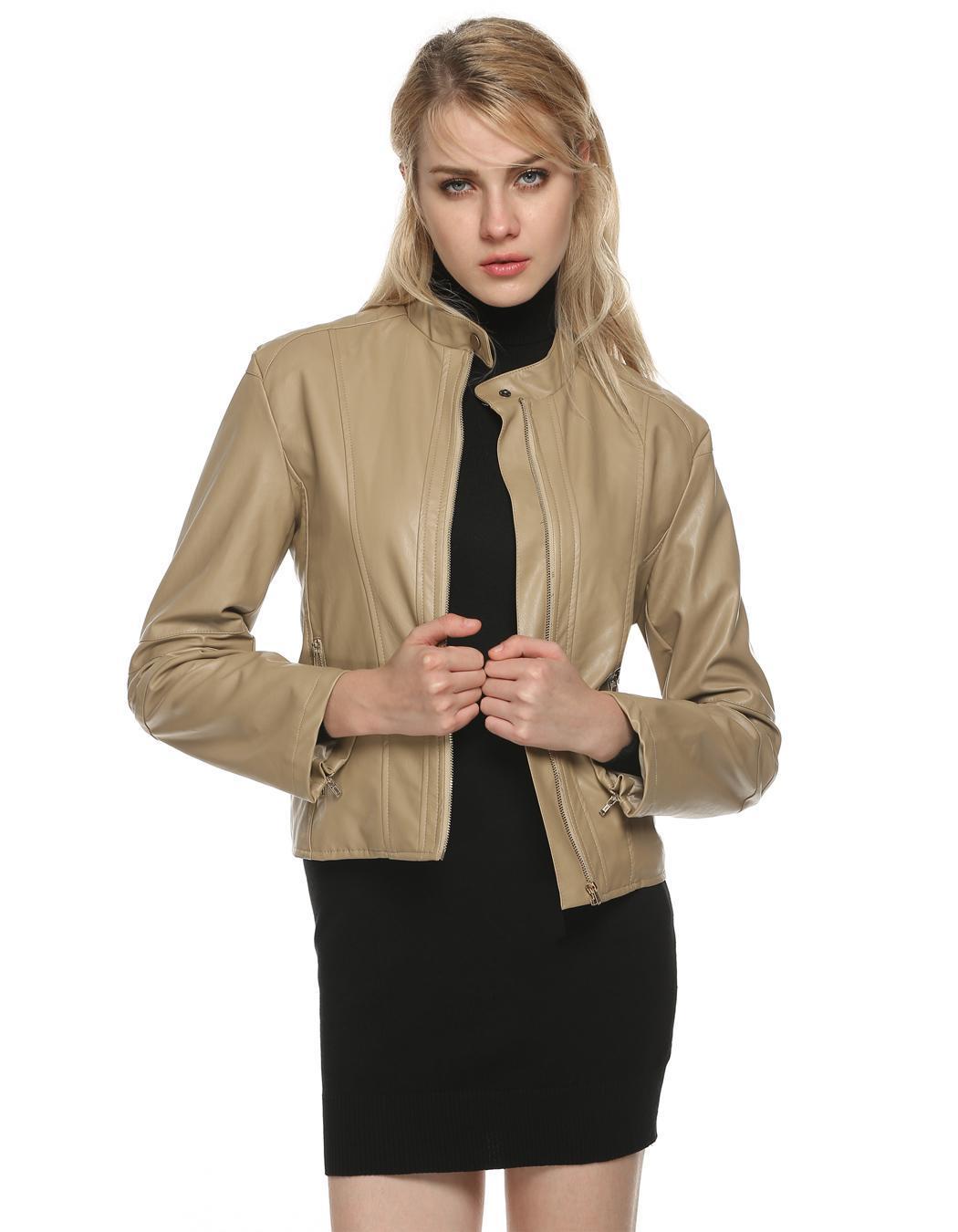 Women Long Sleeve Synthetic Leather Casual Bike Jacket Short Coat 0