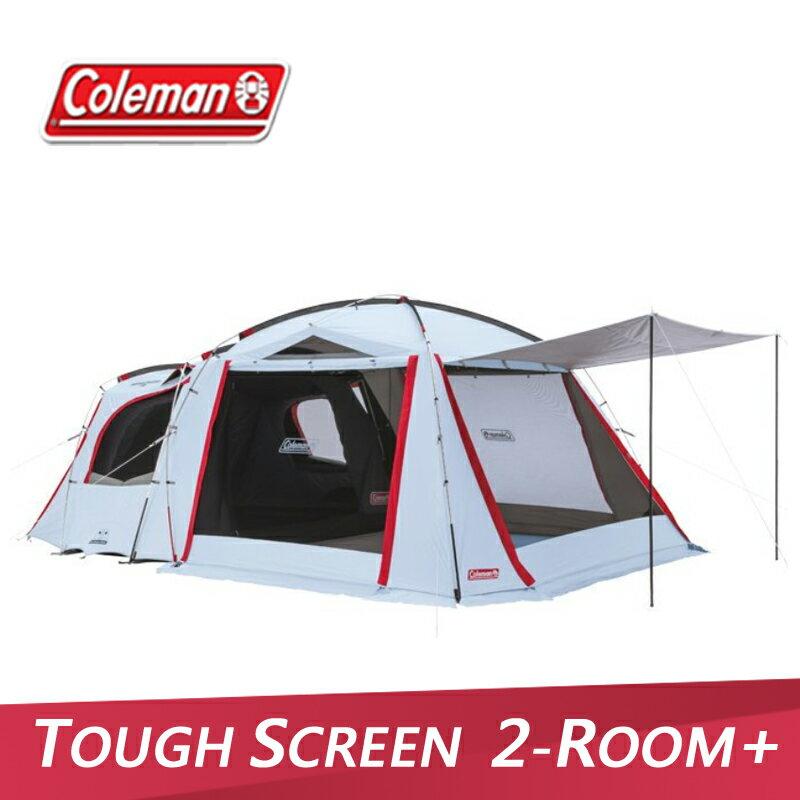 【露營趣】Coleman CM-33134 TOUGH SCREEN 2-ROOM+ 一房一廳帳 4-5人帳 家庭帳 客廳帳 別墅帳 露營帳篷