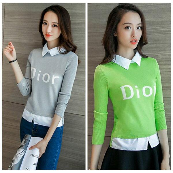 零國界:百搭字母Dior印花顯瘦假兩件針織長袖上衣