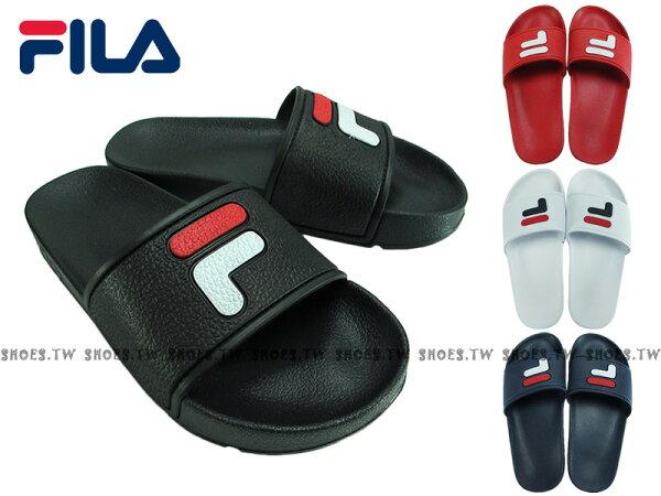 Shoestw【4S316S-】FILA拖鞋LOGO運動防水拖鞋韓版男女尺寸【黑色4S316S021】【白色4S316S123】【紅色4S316S221】【深藍色4S316S321】