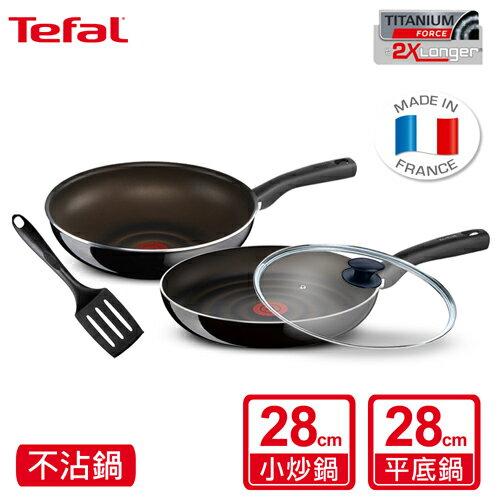 Tefal 法國特福炫黑系列4件組(炒鍋28cm+平底鍋28cm+鍋蓋+鍋鏟) COMBO24