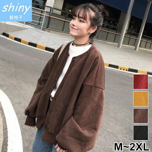 shiny藍格子:【V2111】shiny藍格子-原宿風.百搭純色寬鬆袖刷毛長袖外套