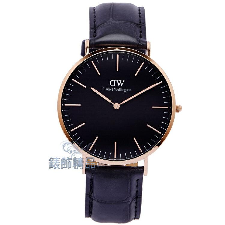 【錶飾精品】現貨 Daniel Wellington 瑞典DW手錶 DW00100129 玫瑰金 READING黑色壓紋錶帶 40mm全新原廠正品 生日 情人節 禮物 禮品
