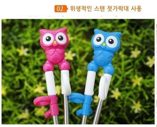 EDISON 愛迪生 貓頭鷹 一階 不鏽鋼 學習筷 右手 兒童 餐具 韓國製 另有波力 湯匙