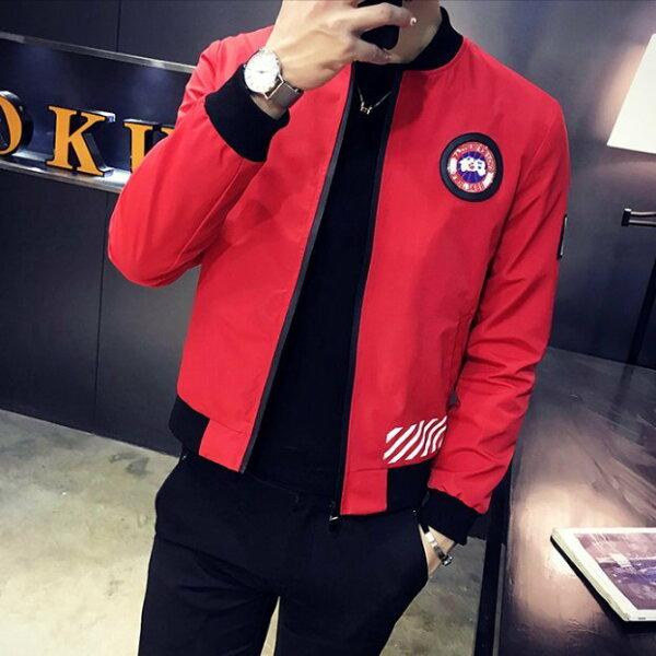 FINDSENSEZ1韓國時尚潮男CANADA字母徽章拉鏈小外套夾克風衣