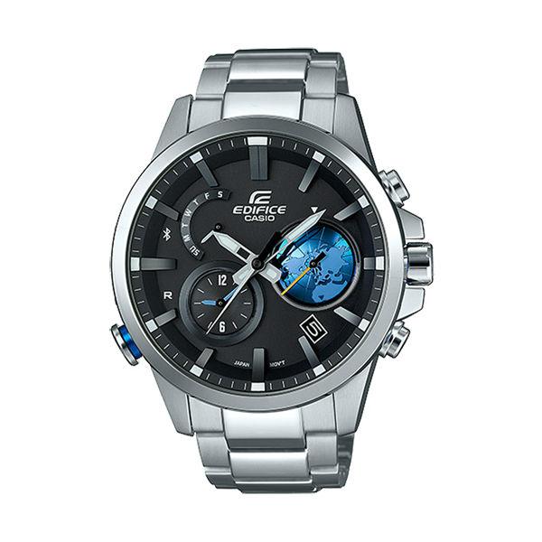 CASIO EDIFICE EQB-600D-1A2北極地圖藍牙時尚腕錶/黑面47.3mm