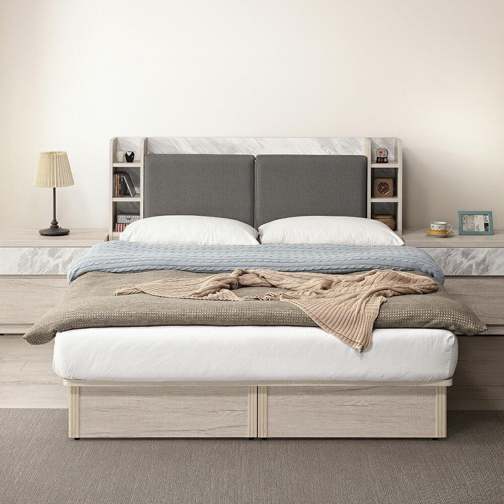 【日本直人木業】SILVER 白橡木 5尺兩抽收納床組
