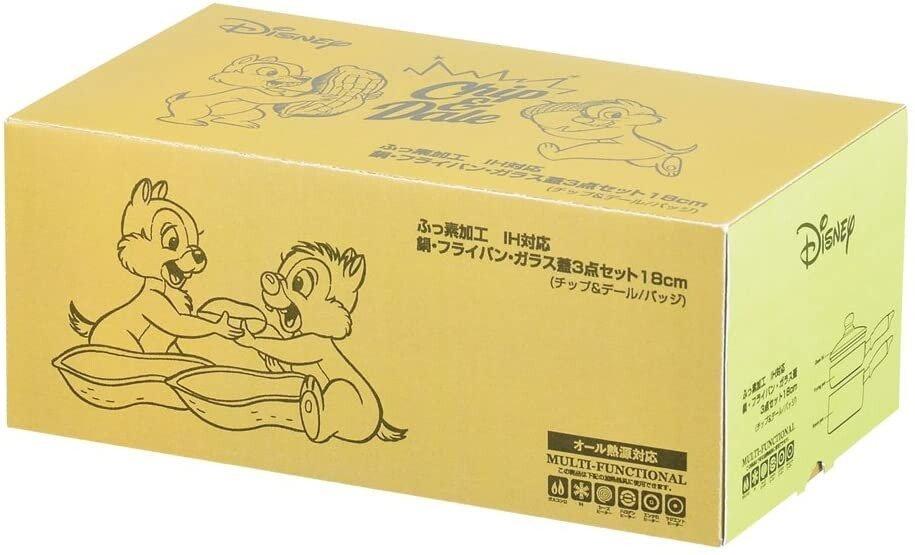 日本【PEARL金屬】Disney平底鍋/牛奶鍋/玻璃蓋特惠組 WD-9068